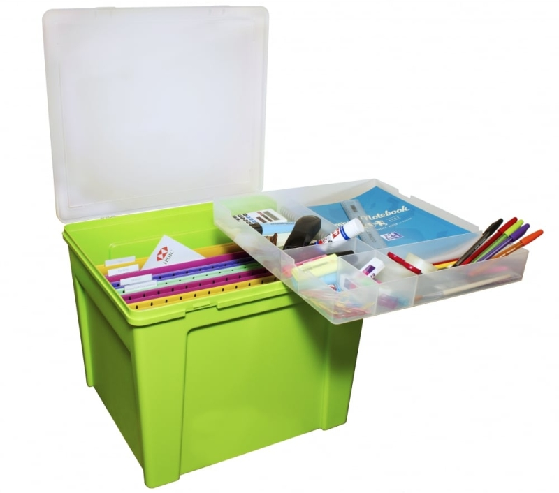Photo of Home Office Plastic Storage Box with Organiser Tray Review