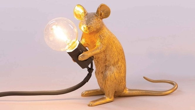 Photo of Seletti Mouse Lamp in Gold Finish (Sitting Edition) Review