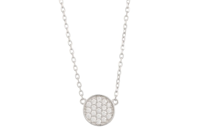 Photo of Ramsdens Sterling Silver Round Pavé Cubic Zirconia Disc Necklace Review